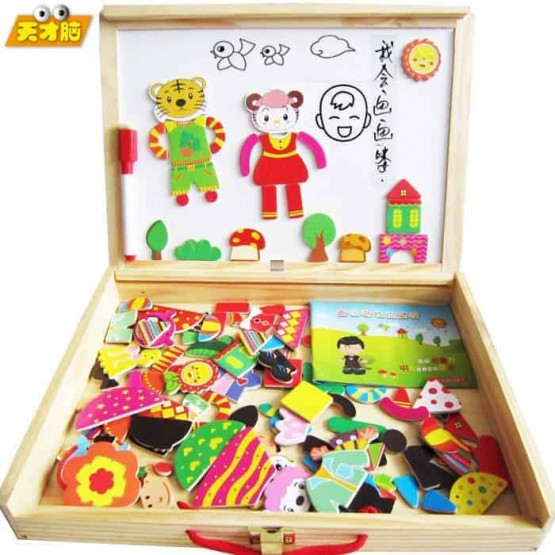 Puzzle magnetic din lemn si tabla 3 in 1