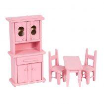 Bucatarie de jucarie pentru papusi lemn Roz