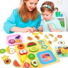 Puzzle Montessori Fructe de feliat Joc lemn cu magnet