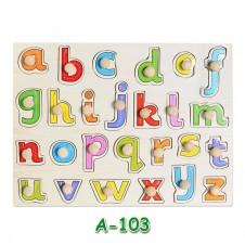 incastru lemn puzzle maner alfabet litere mici