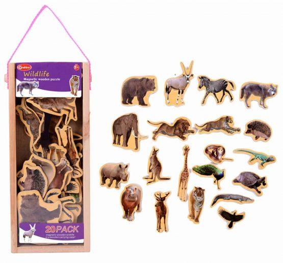 Animale magnetice din lemn Favorite 20 piese
