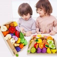 fructe si legume din lemn de feliat