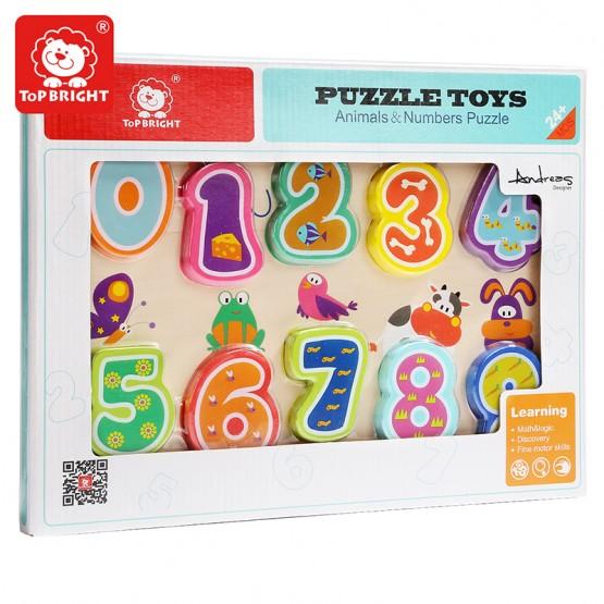 Puzzle din lemn 3D Cifre si Animale
