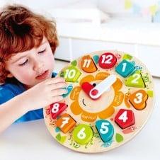 Ceas jucarie lemn cu forme geometrice Puzzle Clock