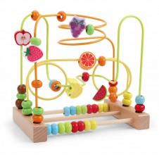 Labirint motricitate cu abac Fructe - joc lemn
