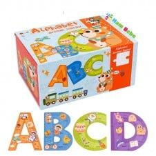 Cutie set cu Puzzle piese mari Alfabetul - 26 litere