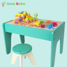 Masuta de joaca copii din lemn cu scaunel, cuburi si jocuri