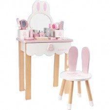masuta frumusete din lemn set infrumusetare copii jucarie cu oglinda