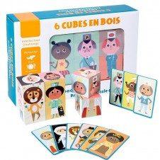 Set 6 cuburi puzzle din lemn Meserii Cubes en Bois