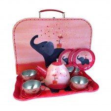 Jucarie Set de ceai in valiza Elefantul Egmont Roz