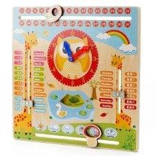 Ceas si calendar din lemn educativ Bufnita