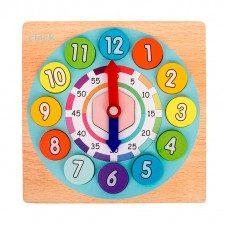Joc lemn Ceas Digital 2 in 1 cu cartonase