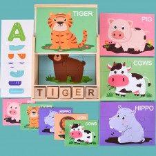 Cutie lemn Joc educativ cu Puzzle cu litere si formare cuvinte