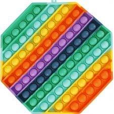 Jucarie Pop it Mare Hexagon Curcubeu 20 cm