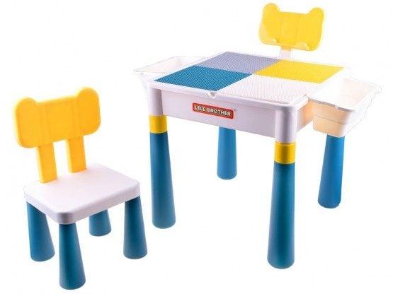 Masuta lego cu scaunel - 2 in 1 Lelebrothers Blocks Desk