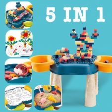 Masuta de joaca multifunctionala 5 in 1, cuburi, suruburi, desen, apa si nisip