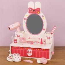 Masuta infrumusetare din lemn pentru copii Pink Bunny