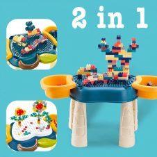 Masuta de joaca multifunctionala 2 in 1, cuburi si suruburi creative