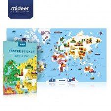 Joc educativ Harta Lumii Poster cu stickere pe numere Mideer