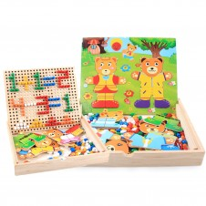 Joc mozaic din lemn si puzzle Imbraca Ursuletii